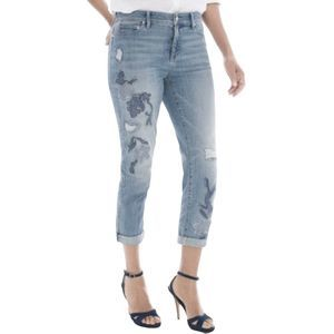 Chico's Girlfriend Distressed Crop Jeans Sz 1/US 8